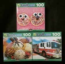 New 100 Piece Jigsaw Puzzle (Lot of 3) Donuts Ice Cream Fire Engine Truck