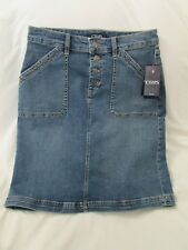 "Ladies ""Chaps"" Size 12, Blue, Distressed, Button Fly, A-Line, Denim Skirt"