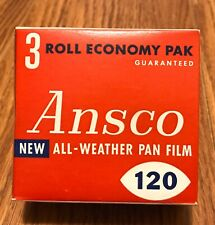 ANSCO 120 All-Weather Pan Film / Climate-Proof 3-Pack - Vtg / Exp 1959 ~ SEALED