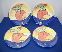 "Bella Ceramica Alfresco 4 Salad Dessert Plates (8.75"") Fruit Apple Pear Grapes"