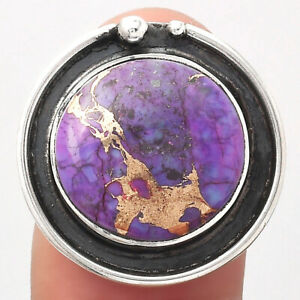 Copper Purple Turquoise - Arizona 925 Sterling Silver Ring s.8 Jewelry 0958