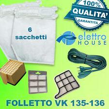 Ricambi Folletto VK 135 136, 6 Sacchetti + 6 Profumi + 2 Filtri + Cavo 7 Mt