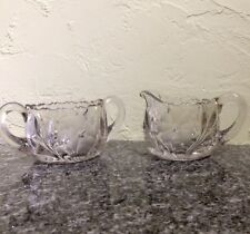 Cut Glass Sugar Bowl & Creamer Deep Cut Daisy Pattern Heavy Tool
