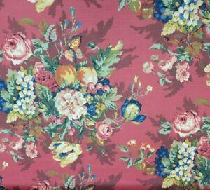 """Queensland in Crimson BTY 54"""" Wide P Kaufmann 100% Cotton Slub Floral"""