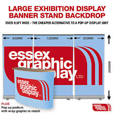 EXHIBITION DISPLAY 3 BANNER STANDS AND PODIUM PACKAGE (1200mm) 1440dpi PRINTING