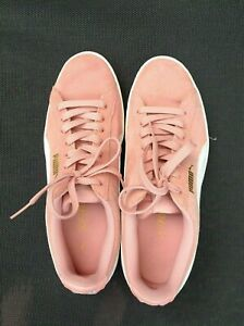 Puma Women's VIKKY Coral Cloud White Gold Sneakers Shoes SZ 9M Pink Suede