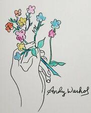 Andy Warhol Mixed Media Watercolor ink Art Signed Drawing Artwork Botanical Art