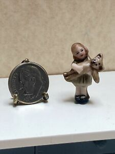 Vintage Artisan Tiny Bisque Baby Girl & Her Teddy Display Dollhouse Miniature