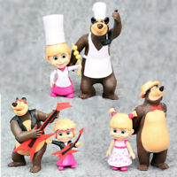 Masha And The Bear 6 PCS Cartoon Characters 3 Masha 3 Bear Action Figure Toys