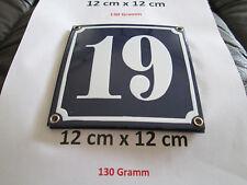 Hausnummer Nr. 19 weisse Zahl auf blauem Hintergrund 12 cm x 12 cm Emaille Neu