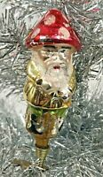 Vintage Mercury Glass Clip on Christmas Ornament Gnome Mushroom Hat Germany