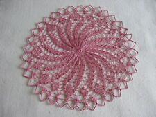 Handgestricktes kleines rundes  Deckchen 20 cm altrosa Baumwolle