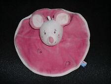 doudou plat rond souris rose SUCRE D'ORGE (2 dispo)