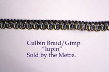 "Blue & Old Gold upholstery Braid/Gimp 10mm wide (sold by the Metre) ""Lupin"""