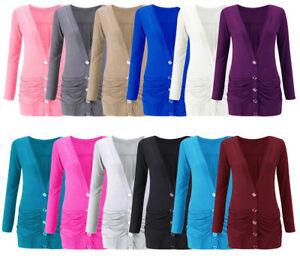 Womens New Button Up Boyfriend Cardigan Top Ladies Long Sleeve Pocket Cardi 6-24
