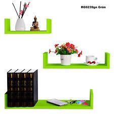 Lot de 3 étagères murale en MDF étagère à livres CD DVD murale Vert FRG9239gn