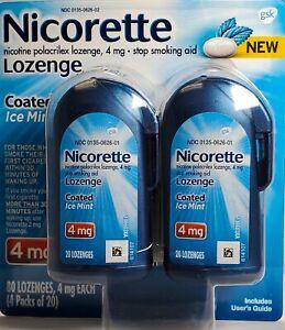 Nicorette Lozenge 4 mg Ice Mint 80 Lozenges -Expiration Date 01-2022