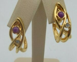 Vintage AVON 1980's Purple Stone Rhinestone Semi-Hoop Gold  Clip-On Earrings