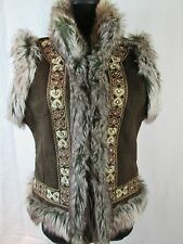 Gorgeous Brown I-N-C Reversible Faux Suede Fur Vest Jewels & Embroidery