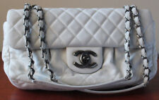 Chanel White/Ivory Quilted Calfskin Classic Chain Flap Bag with Ruching