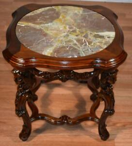 1920 Antique French carved Walnut & Marble top coffee table / side table