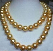 "36"" huge AAA11-12mm genuine south sea golden pearl necklace 14k gold clasp"