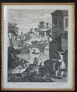 William Hogarth antique etching / engraving Satire on False Perspective