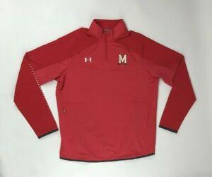 Under Armour Maryland Terrapins Quarter 1/4 Zip Jacket Men's Large Red 1327205