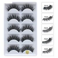 NEW 3D Mink Natural Thick False Fake Eyelashes Handmade Strip Eye Lashes UK