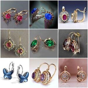 925 Silver Cubic Zirconia Hook Drop Dangle Earrings Wedding Engagement Jewelry