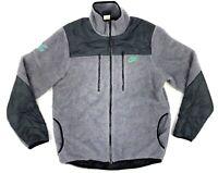 Nike Pacer Mens Large Gray Color Block Track & Field Full Zip Pile Fleece Jacket