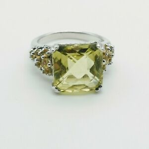 Sterling Silver Facetted Pale Yellow Stone Citrine? Ring Size N Cushion Cut 925