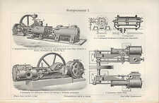 Lithografie 1906: Kompressoren. Ventil-Einzylinder-Verbund-Kompressor
