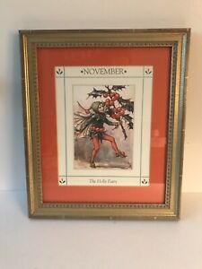 """Vintage Print """"November Holly Fairy"""" Matted and Framed Professionally Red Green"""