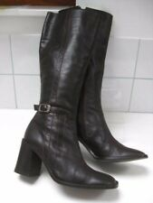 Ladies WALLIS brown leather knee high BOOTS size UK 6.5 military biker riding