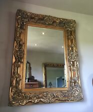 Large Antique Gold Statement Ornate Swept French Over Mantle Wall Mirror 5ft