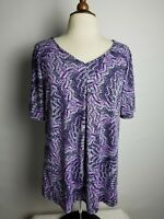 KIM ROGERS Blouse Size L V-neck Top Purple White Short Sleeve