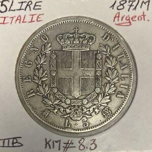 ITALIE - 5 LIRE 1871 M - Pièce de Monnaie en Argent // Qualité : TTB
