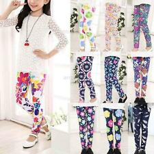 Child Kids Girls Leggings Pants Floral Printed Stretchy Skinny Trousers 4-12 Y