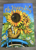 """Outdoor Decorative Applique House Flag """"Oh Happy Day"""" 28"""" x 40"""""""