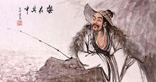 ORIGINAL ASIAN FINE ART CHINESE FIGURE WATERCOLOR PAINTING-Fisher man Fishing