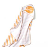 "Baby ""Hello"" Sunshine Embroidered Hooded Towel  Cloud Island White/Orange Unisex"