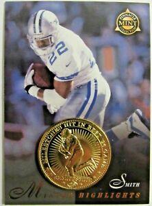 RARE 1997 PINNACLE MINT EMMITT AMITH GOLD PLATED COIN & CARD #28  DALLAS COWBOYS
