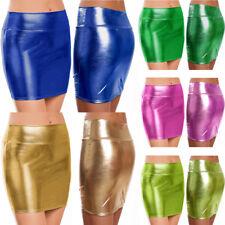 Women Wet Look PVC Leather Bodycon Mini Skirt Shiny Party Evening Dance Clubwear