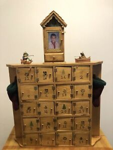 "Custom Made Wooden Advent Calendar Huge Box Doors Holidays 33"" X 23"""
