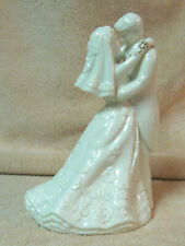 Bride Groom Cake Topper Figurine Ivory Porcelain 7 1/2""