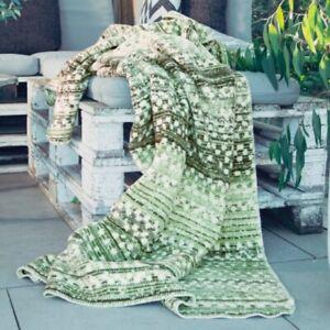Ibena Decke Kuscheldecke Wohndecke Sofadecke Tagesdecke blanket grün - Agadir