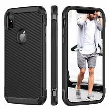 iPhone Ten XS Max Case 6 5 Carbon Fiber Full Body Shockproof Protective Cover