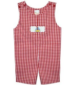 Boys boutique red sailboat smocked romper 6 12 months NWT outfit nautical beach