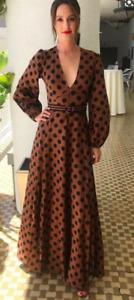 RRP £585 BNWT Zimmermann Juno Split Black Brown Polka Dot Dress, Matches Fashion